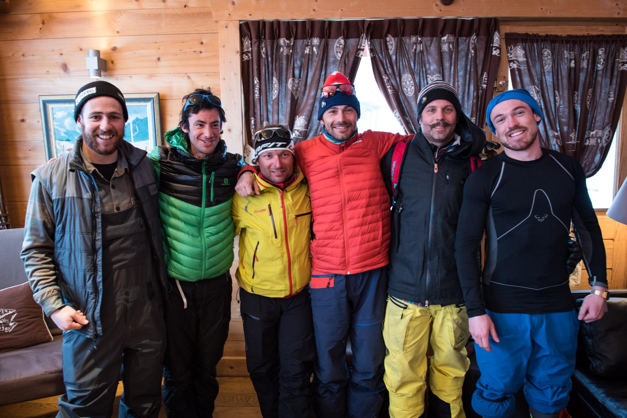 (de gauche à droite) Jeremy Prevost, Kilian Jornet, Cédric Pugin, Adrien Coirier, Mathieu Navillod ©Tim Nallet/CTC
