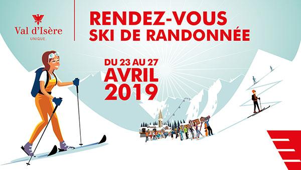 Val d'Isère affiche rendez-vous ski de randonnée 2019 horizontal