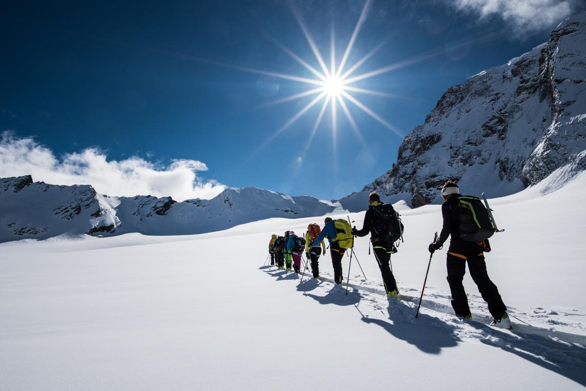 Crème solaire obligatoire sur le haut glacier d'Arolla sous ce soleil de plomb.