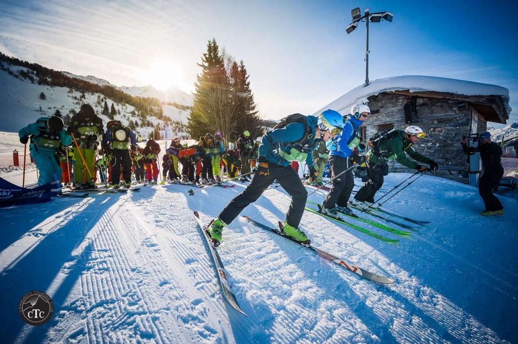 Départ du Big Nak skis aux pieds