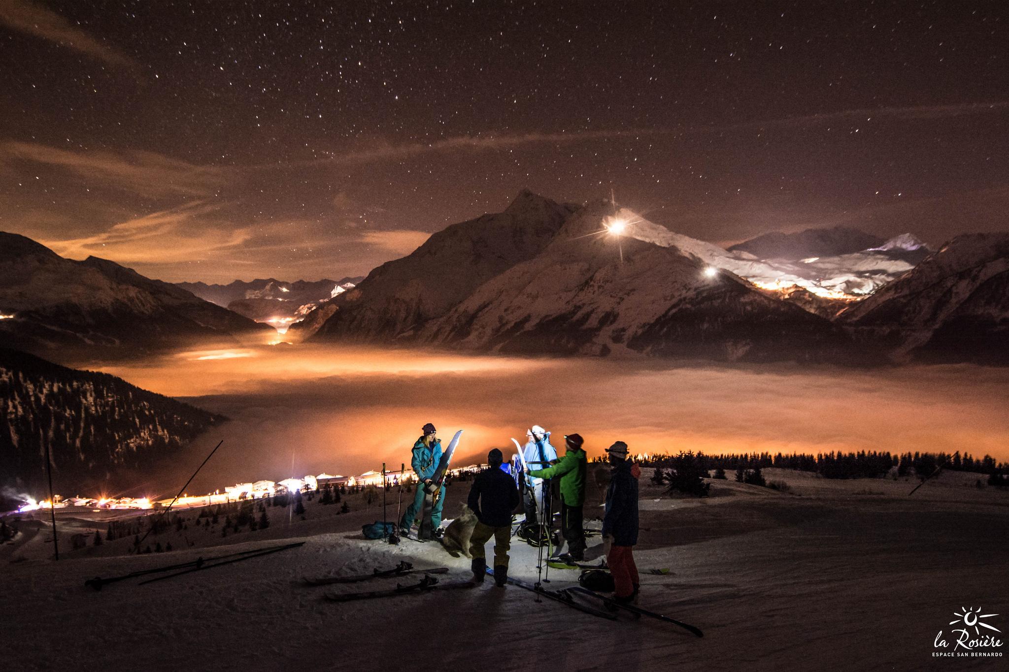 Sortie ski de randonnée nocturne à La Rosière