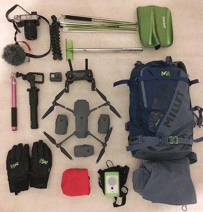 Appareil photo gopro stabilisateur drone micro sac à dos Millet gants DVA pelle sonde