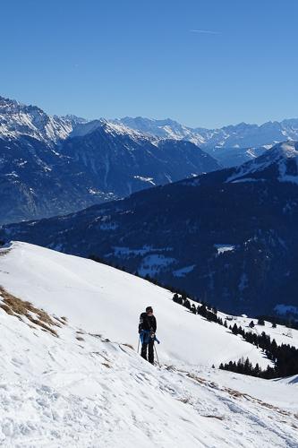Montagne ski randonnée neige Pointe de Bellevue Suisse Valais